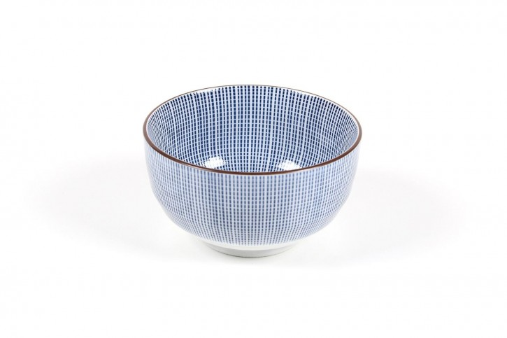 Schale weiß mit blauen Streifen