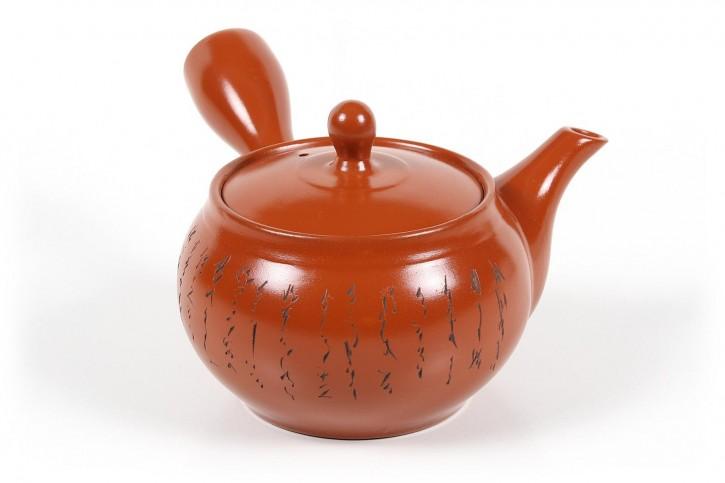 Japanische Teekanne Kanji rot