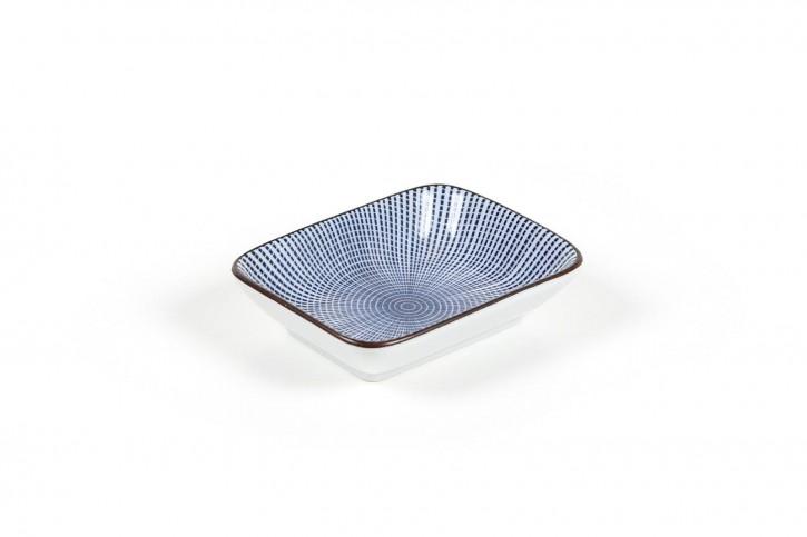 Sojasauce-Schälchen mit bleuen Streifen