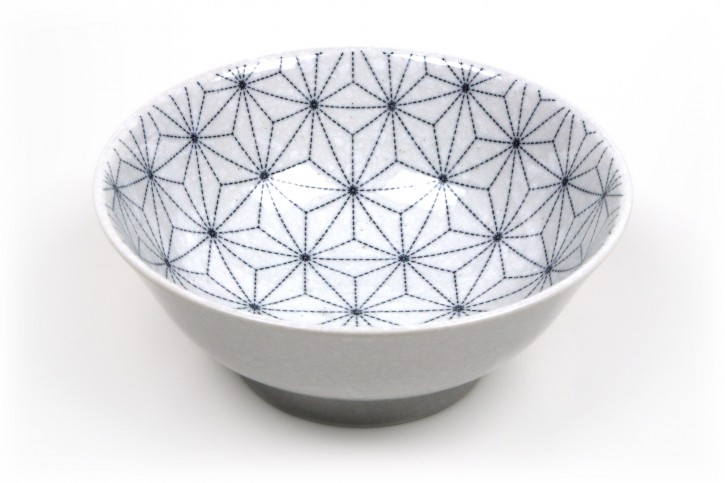 Ramen-Schale weiß mit Linienmotiv