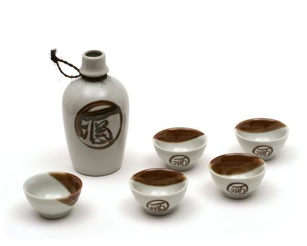 Sake Set weiß braun
