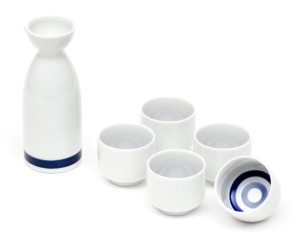 Sake Set in weiß und blau mit fünf Tassen