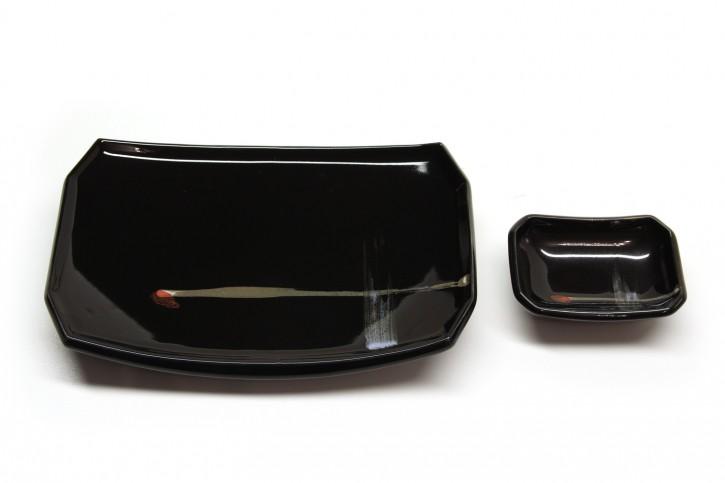 Sushi-Teller-Set schwarz groß
