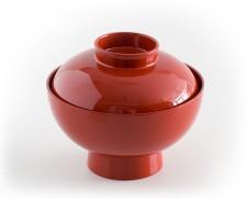 Suppenschale mit Deckel, rot