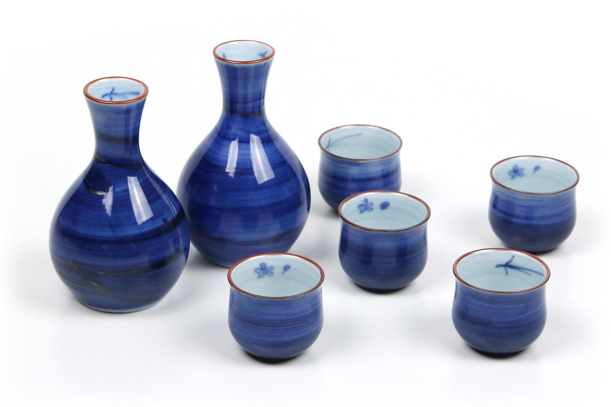 Japanisches Sake Set Blau