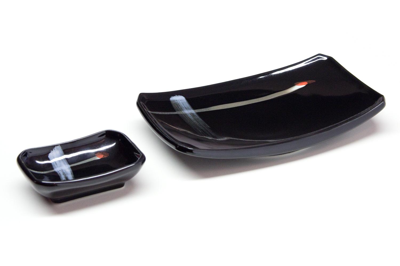 sushi teller set kyoto schwarz morita. Black Bedroom Furniture Sets. Home Design Ideas