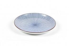 Sushi-Teller-Set weiß mit bleuen Streifen