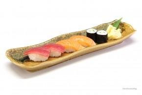 Japanischer Teller schmal grün-braun