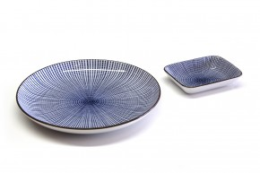 Sushi-Teller-Set blau-weiß